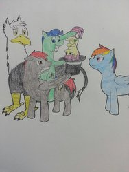 Size: 1024x1365 | Tagged: safe, artist:thatdamntenpin, rainbow dash, oc, oc:little star, oc:matteo, oc:squall, oc:twister, fanfic:piercing the heavens, fanfic, fanfic art, hat, magician, top hat, traditional art, unamused