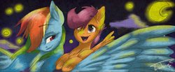 Size: 953x394 | Tagged: safe, artist:lubyloo7, rainbow dash, scootaloo, moon