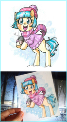 Size: 500x904 | Tagged: safe, artist:paulina-ap, coco pommel, pony, bipedal, clothes, cocobetes, coffee, coffee cup, cup, cute, female, happy, hat, photo, scarf, snow, snowfall, solo, sweater, traditional art, winter
