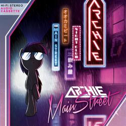 Size: 4200x4200 | Tagged: safe, artist:petirep, oc, oc only, oc:archie, pony, absurd resolution, archie v, city, cover, neon, neon sign, nightclub, rain, retro, solo, street, sunglasses