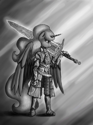 Size: 1119x1500 | Tagged: anthro, armor, artist:pentoolqueen, brass set, dark souls, grayscale, monochrome, moonlight great sword, princess luna, safe, solo, sword