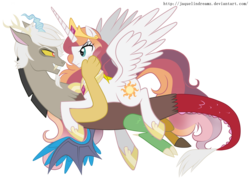 Size: 3968x2840 | Tagged: dead source, safe, artist:jaquelindreamz, discord, princess celestia, alicorn, draconequus, pony, caos, dislestia, eris, eye contact, fangs, female, floating, frown, glare, grin, lidded eyes, male, mare, prince solaris, princess helia, prone, redraw, rule 63, rule 63'd rule 63, shipping, simple background, smiling, smirk, spread wings, straight, transparent background, we need to go deeper, wings, yellow sclera