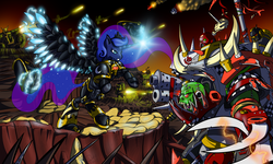 Size: 2000x1200 | Tagged: safe, artist:davidcurser, princess luna, ork, armor, chaos space marine, crossover, fanfic, fanfic art, heavy bolter, iron warriors, power armor, power fist, power klaw, powered exoskeleton, space marine, war, warboss, warhammer (game), warhammer 40k, weapon