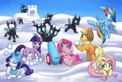 Size: 1000x675 | Tagged: safe, artist:oomles, applejack, fluttershy, pinkie pie, queen chrysalis, rainbow dash, rarity, twilight sparkle, changeling, mane six, party cannon, snow, snowball, snowball fight, snowfall, underhoof, winter