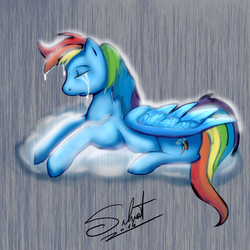 Size: 512x512 | Tagged: safe, rainbow dash, cloud, crying, solo, wondering