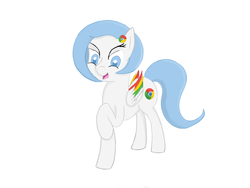Size: 1024x768 | Tagged: safe, artist:hideki, oc, oc only, oc:google chrome, browser ponies, google chrome, ponified, simple background, solo, white background