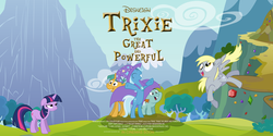 Size: 2200x1100 | Tagged: safe, artist:doctor-derpy, derpy hooves, snails, snips, trixie, pegasus, pony, female, mare, movie poster, movie reference, oz the great and powerful