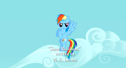 Size: 1099x597 | Tagged: safe, screencap, rainbow dash, sonic rainboom (episode), flying, m.a. larson, solo