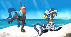 Size: 1224x648 | Tagged: safe, artist:auroriia, queen chrysalis, zecora, zebra, beach, beach ball