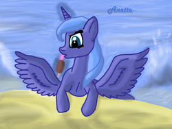 Size: 1000x750 | Tagged: safe, artist:anna-krylova, princess luna, beach, ice cream, licking, magic, s1 luna, solo, telekinesis