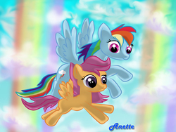 Size: 1000x750 | Tagged: safe, artist:anna-krylova, rainbow dash, scootaloo, duo, flying, scootaloo can fly, scootalove