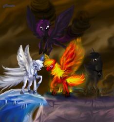 Size: 1404x1500 | Tagged: safe, artist:anna-krylova, alicorn, pony, disney, greek mythology, hercules, hydros, lythos, ponified, pyros, stratos