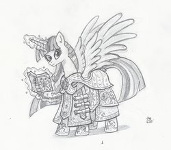 Size: 1946x1708 | Tagged: alicorn, armor, artist:sensko, black and white, clothes, crossover, diablo, female, grayscale, mare, monochrome, pencil drawing, pony, robe, safe, scroll, solo, spellbook, traditional art, twilight sparkle, twilight sparkle (alicorn), ultimate twilight