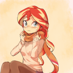 Size: 1000x1000 | Tagged: dead source, safe, artist:baekgup, sunset shimmer, equestria girls, blushing, clothes, cute, daaaaaaaaaaaw, female, hnnng, looking at you, scarf, shimmerbetes, sitting, solo, stockings, sweater, thigh highs, weapons-grade cute