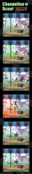 Size: 600x3263 | Tagged: safe, artist:vavacung, neon lights, octavia melody, rising star, roseluck, changeling, comic:changeling-scout, book, comic, pointy ponies