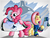 Size: 2000x1500 | Tagged: safe, artist:ruhisu, fluttershy, pinkie pie, andrea libman, bipedal, blushing, clothes, flag, hockey, jersey, nhl, one eye closed, vancouver canucks, vanhoover, voice actor joke, wink