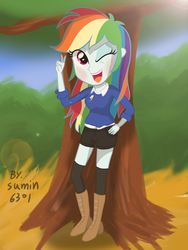 Size: 2000x2666 | Tagged: alternate costumes, artist:sumin6301, boots, clothes, equestria girls, hot pants, rainbow dash, safe, solo, stockings, sweater, wink