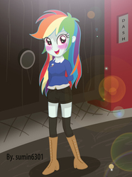 Size: 2424x3256 | Tagged: alternate costumes, artist:sumin6301, blushing, boots, clothes, equestria girls, hot pants, rainbow dash, safe, solo, stockings, sweater