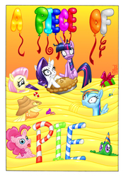 Size: 1200x1653 | Tagged: safe, artist:colour-crusader, artist:mohawkrex, applejack, fluttershy, gummy, pinkie pie, rainbow dash, rarity, twilight sparkle, earth pony, pegasus, pony, unicorn, comic:a piece of pie, colored, comic cover, female, flood, mane six, mare, pie