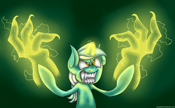 Size: 2900x1800 | Tagged: safe, artist:neoncel, lyra heartstrings, pony, unicorn, female, glowing horn, grin, hand, horn, magic, magic hands, mare, sharp teeth, smiling, solo, teeth