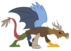 Size: 6144x4398 | Tagged: absurd res, alternate character design, artifact, artist:orangel8989, dewclaw, discord, draconequus, male, quadrupedal, safe, simple background, solo, speculation, transparent background, vector