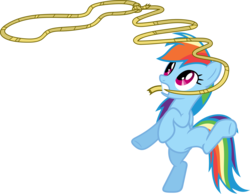 Size: 3565x2769 | Tagged: safe, artist:porygon2z, rainbow dash, pegasus, pony, fall weather friends, bipedal, female, lasso, mare, mouth hold, rope, simple background, solo, standing, standing on one leg, transparent background, underhoof, vector