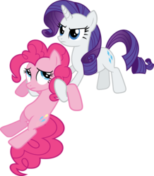 Size: 3077x3529 | Tagged: safe, artist:porygon2z, pinkie pie, rarity, pony, putting your hoof down, angry, holding, holding a pony, simple background, transparent background, vector