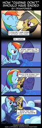 Size: 850x2599 | Tagged: alternate ending, artist:drawponies, bait and switch, comic, daringdash, daring do, daring don't, lesbian, rainbow dash, safe, shipping