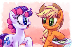Size: 1150x750 | Tagged: safe, artist:whitediamonds, applejack, rarity, pony, look before you sleep, alternate hairstyle, blushing, cucumber, eating, female, food, hair curlers, herbivore, lesbian, open mouth, raised hoof, rarijack, rarijack daily, shipping, silly, silly pony