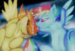 Size: 1280x867 | Tagged: safe, artist:cat4lyst, artist:coyoterainbow, rainbow dash, spitfire, female, lesbian, shipping, spitdash