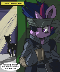 Size: 1200x1440 | Tagged: safe, artist:fauxsquared, twilight sparkle, pony, tumblr:it's always sunny in canterlot, bipedal, crossover, eyepatch, female, future twilight, headband, knife, konami, metal gear, metal gear solid, single panel, solid snake, solid sparkle, solo