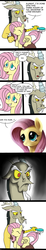 Size: 989x5339 | Tagged: safe, artist:wolverfox, discord, fluttershy, angry, annoyed, brush, brushie, brushing, close-up, comic, cute, cutemail, discute, eyes closed, floppy ears, frown, glare, grin, grumpy, madorable, prone, puppy dog eyes, shyabetes, smiling, unamused, watch
