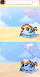 Size: 502x955 | Tagged: safe, artist:pekou, rainbow dash, ask my little chubbies, ask, chubbie, comic, juice box, snow, snowfall, sunglasses, tumblr, umbrella