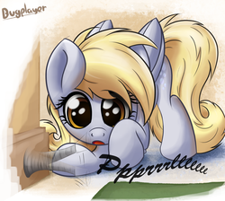 Size: 1900x1700   Tagged: safe, artist:bugplayer, derpy hooves, pegasus, pony, :o, behaving like a cat, bugplayer is trying to murder us, curious, cute, derpabetes, doorstop, eyes on the prize, female, mare, open mouth, playing, solo, underp