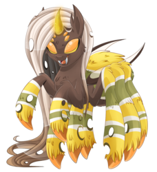 Size: 1024x1124 | Tagged: safe, artist:blackfreya, changeling, drider, hybrid, monster pony, original species, spider, spiderling, spiderpony, fluffy, magic, simple background, smiling, solo, transparent background, yellow changeling