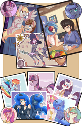Size: 719x1112 | Tagged: artist:sallymon, derpy hooves, dj pon-3, human, humanized, octavia melody, princess cadance, princess celestia, princess luna, safe, twilight sparkle, twilight sparkle (alicorn), vinyl scratch