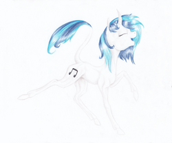 Size: 2835x2362 | Tagged: artist:kayarei, classical unicorn, curved horn, dj pon-3, leonine tail, safe, vinyl scratch