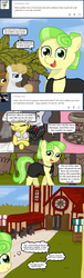 Size: 494x1631 | Tagged: safe, artist:ficficponyfic, chickadee, ms. peachbottom, oc, oc:golden brisk, oc:silver breeze, cyoa:peachbottom's quest, alternate hairstyle, billboard, chapel, cyoa, goldeeze, tumblr