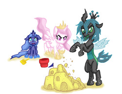 Size: 3300x2550 | Tagged: safe, artist:redanon, princess celestia, princess luna, queen chrysalis, alicorn, changeling, changeling queen, nymph, angry, bucket, cewestia, crying, cute, cutealis, cutelestia, female, filly, foal, lunabetes, sandcastle, shovel, woona, younger
