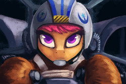 Size: 1024x683   Tagged: safe, artist:asimos, scootaloo, crossover, female, new lunar republic, pilot, solo, star wars