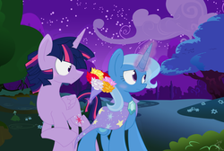 Size: 4600x3084 | Tagged: artist:yaaaco, bad translation, bouquet, dusk shine, female, flower, half r63 shipping, male, rule 63, safe, shipping, story included, straight, trixie, trixshine, twilight sparkle, twilight sparkle (alicorn), twixie