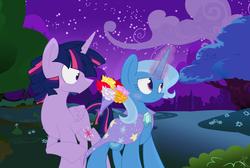 Size: 4600x3084 | Tagged: safe, artist:yaaaco, trixie, twilight sparkle, bad translation, bouquet, dusk shine, female, flower, half r63 shipping, male, rule 63, shipping, story included, straight, trixshine, twilight sparkle (alicorn), twixie