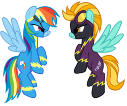 Size: 1046x869 | Tagged: dead source, safe, artist:lekelbel, lightning dust, rainbow dash, angry, clothes, costume, flying, goggles, looking at each other, shadowbolts, shadowbolts (nightmare moon's minions), shadowbolts costume, simple background, transparent background, uniform, wonderbolts, wonderbolts uniform