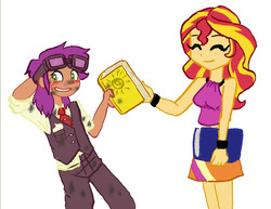 Size: 1482x1145 | Tagged: artist:redanon, blushing, book, dirty, equestria girls, equestria girls-ified, oc, oc:fidgety dandelion, safe, sunset shimmer
