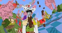Size: 1920x1033 | Tagged: safe, screencap, discord, brohoof.com, chaos, discord's throne, discorded landscape, minecraft