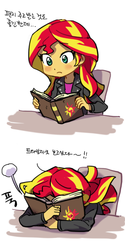 Size: 300x600 | Tagged: dead source, safe, artist:baekgup, sunset shimmer, equestria girls, rainbow rocks, blushing, book, chair, facebooking, female, frown, hug, implied lesbian, implied shipping, implied sunsetsparkle, journey book, korean, reading, sitting, solo, translated in the comments, translated in the description, wide eyes