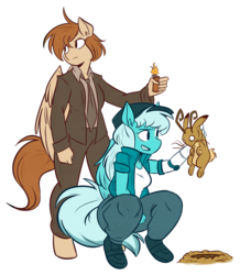 Size: 1845x2115 | Tagged: safe, artist:herny, oc, oc only, oc:frosty winds, anthro, jackalope, rabbit, fallout equestria, fallout equestria: memories, don't starve, hunting, imminent death