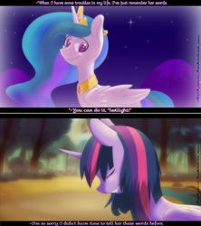 Size: 2000x2250 | Tagged: safe, artist:gnidagovnida, princess celestia, twilight sparkle, alicorn, pony, dialogue, female, mare, twilight sparkle (alicorn)
