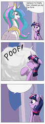 Size: 1737x4737 | Tagged: safe, artist:otakuap edit, princess celestia, twilight sparkle, alicorn, pony, celestia's true form, comic, comic sans, exploitable, female, mare, meme, scrunchy face, template, transformation, true form, twilight sparkle (alicorn)
