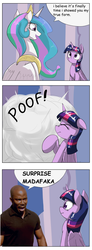 Size: 1467x4000 | Tagged: safe, artist:otakuap edit, princess celestia, twilight sparkle, alicorn, pony, celestia's true form, character to character, comic, comic sans, crossover, dexter, female, james doakes, mare, meme, scrunchy face, surprise motherfucker, transformation, true form, twilight sparkle (alicorn)